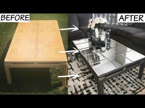 DIY GLAMOROUS MIRROR TABLE (DOLLARAMA)