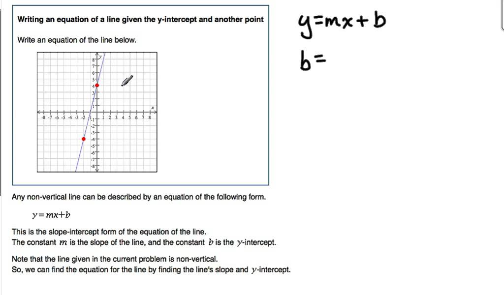 write an equation of a line using y intercept and slope