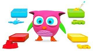 Совенок Хоп Хоп играет в разноцветный песок - Развивающие мультики для малышей
