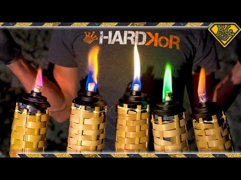 Rainbow Flame Torches Made From Random Materials