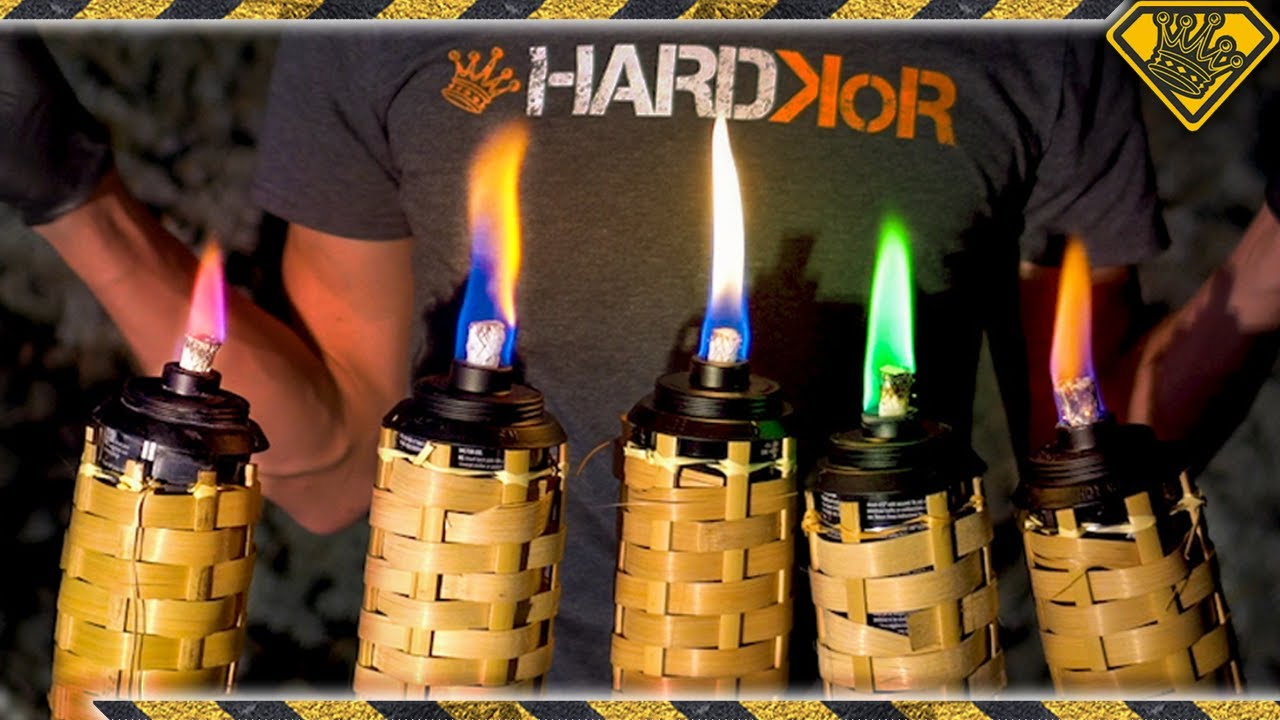 Rainbow Flame Torches Made From Random
