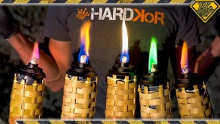 Colored Tiki Torches Made From Random Materials