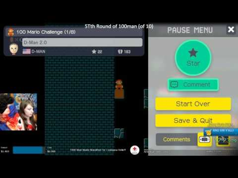 Super Mario Maker - Beating a 100-man Easy level BLIND w/ @BlackANTIvenom!
