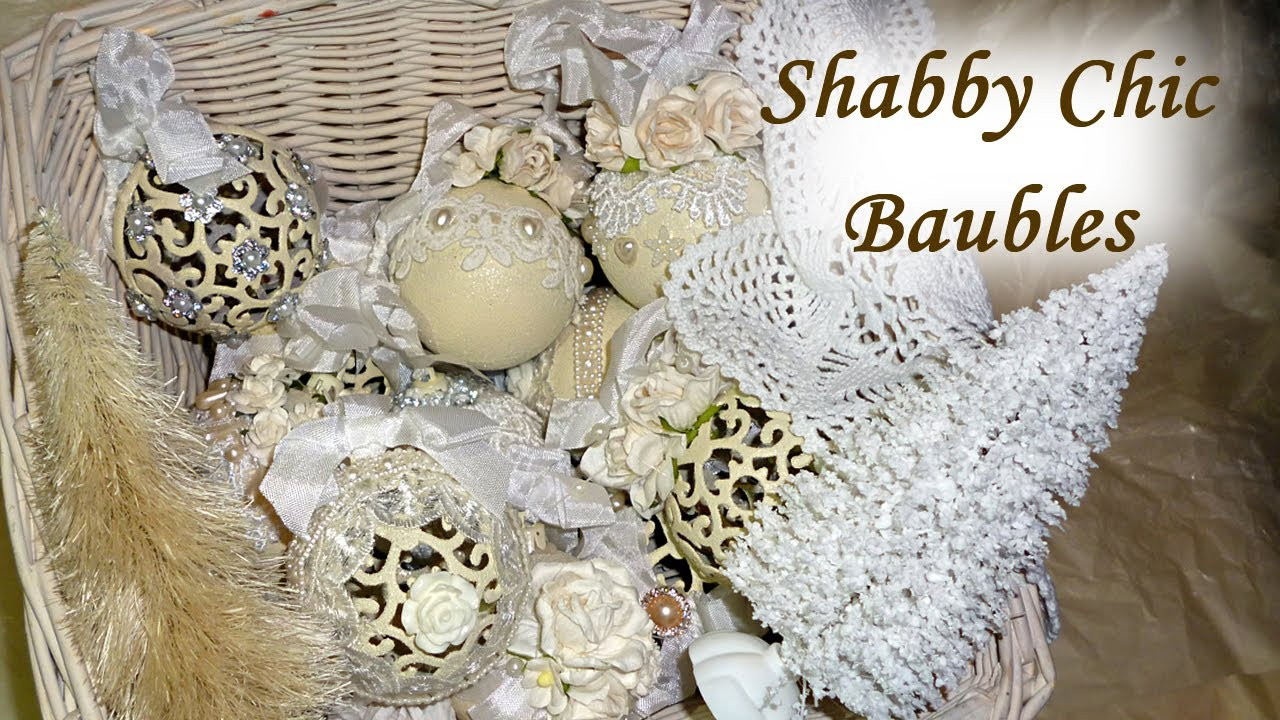 Diy altered shabby chic vintage christmas baubles balls tree