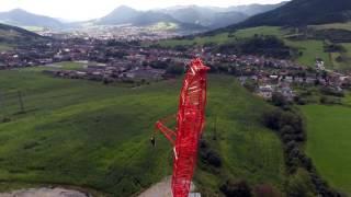 AG Transport (Czech) biggest crane Liebherr LTM 1750-9.1 on D1 highway bridge construction site.
