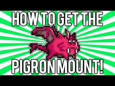 Terraria 1.2.4: Pigron Mount! (Scaly Truffle Summoning Item) [demize]
