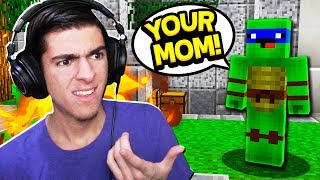 SALTY KID GETS TAUGHT A LESSON! (Minecraft Skywars)