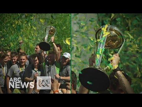 Aussie Cricket team celebrates World Cup win