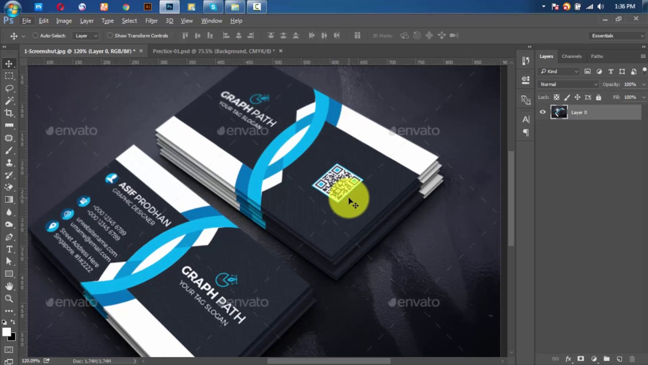 how to create graphicriver business card - YouTube