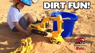 DIRT PILE With Bulldozer, EXCAVATOR and Mini Dump Truck! PLAY With Kids!