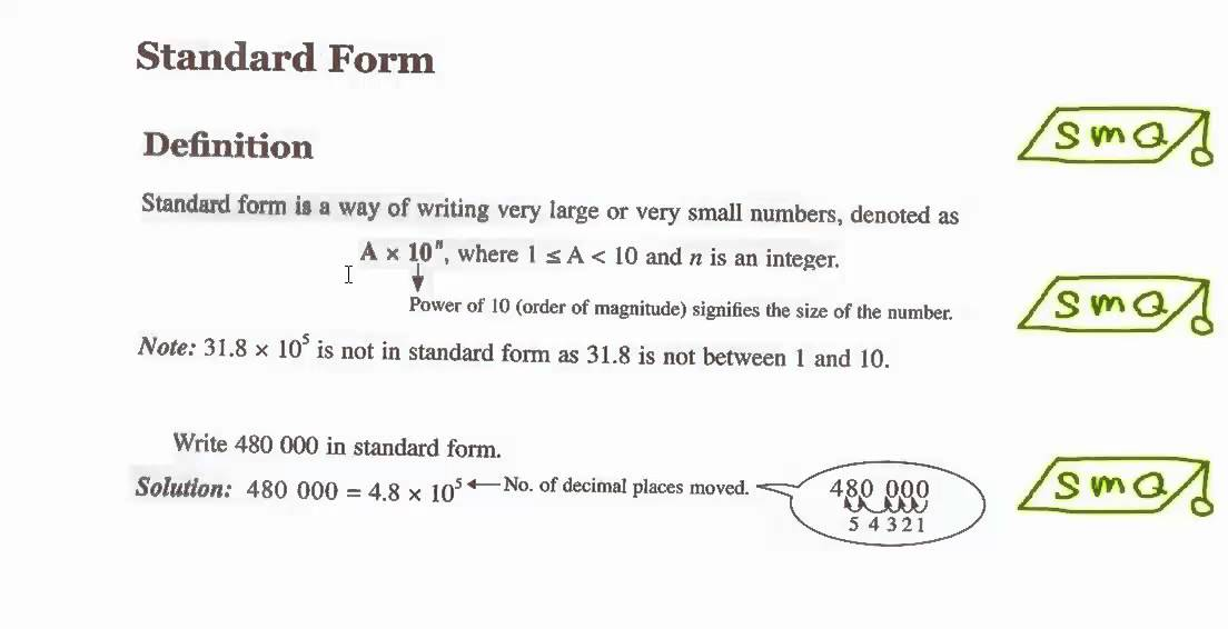 Very Large And Small Numbers Standard Forms Youtube