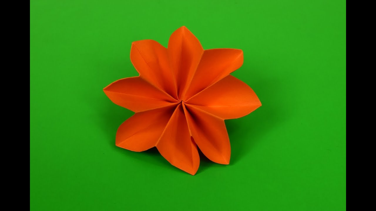 Easy 8 Petal Flower Origami Youtube