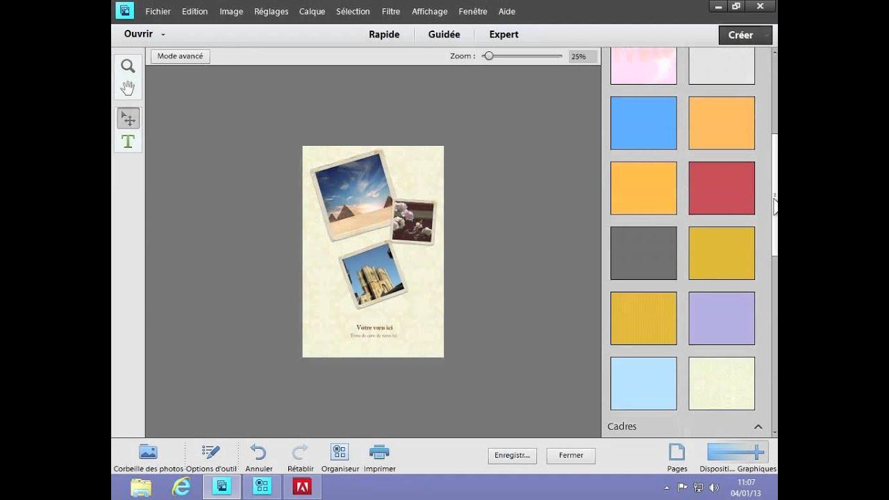 5 5 photoshop elements 11 cr er une carte de voeux youtube. Black Bedroom Furniture Sets. Home Design Ideas