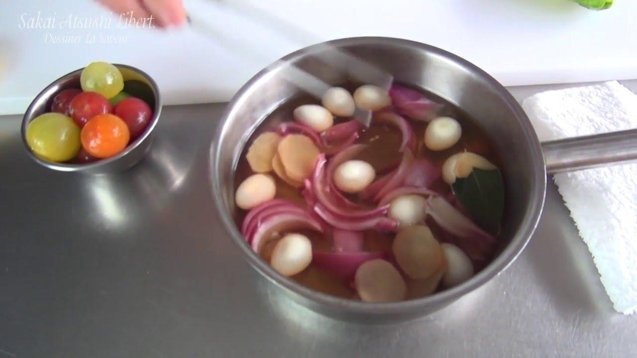 サーモンとうずらの卵と野菜のピクルス フランス料理 名古屋 酒井淳