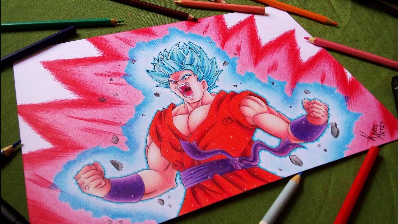 como desenhar goku super saiyan blue kaioken x10 how to draw