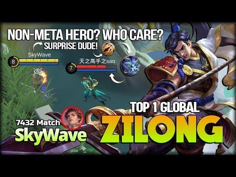 Destroy Meta Hero With Underrated Hero! SkyWave Top 1 Global Zilong - Mobile Legends