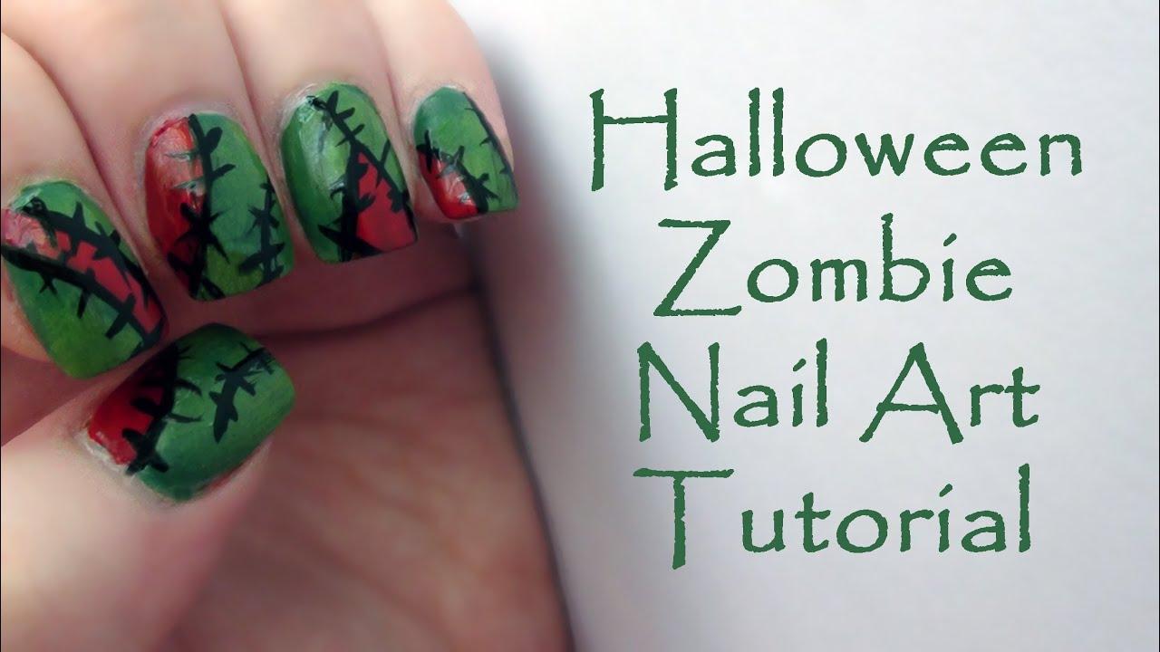 Zombie halloween nail art tutorial easy halloween nails youtube prinsesfo Choice Image