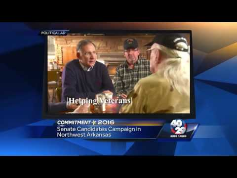 Republican Senator John Boozman and Democrat Conner Eldridge  campaign in NWA