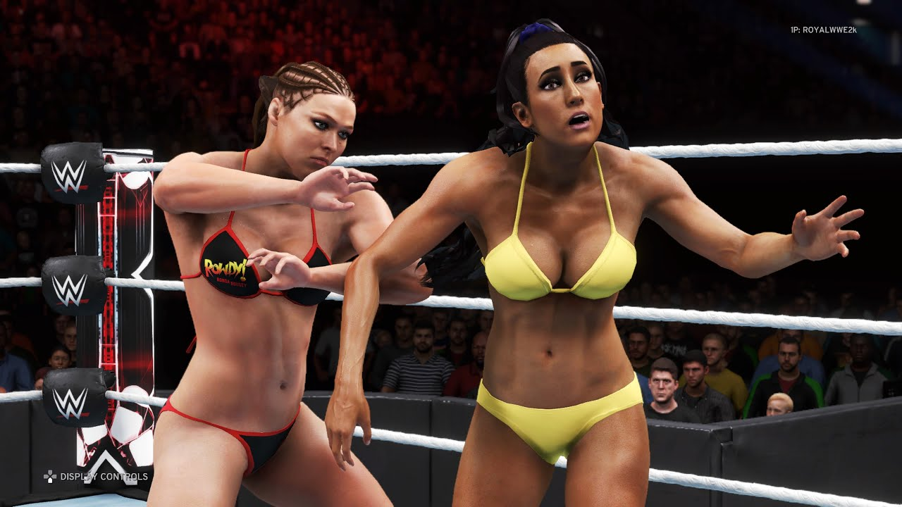 WWE 2K20 - Ronda Rousey vs. Carmella - Bikini Girl Fights 💜