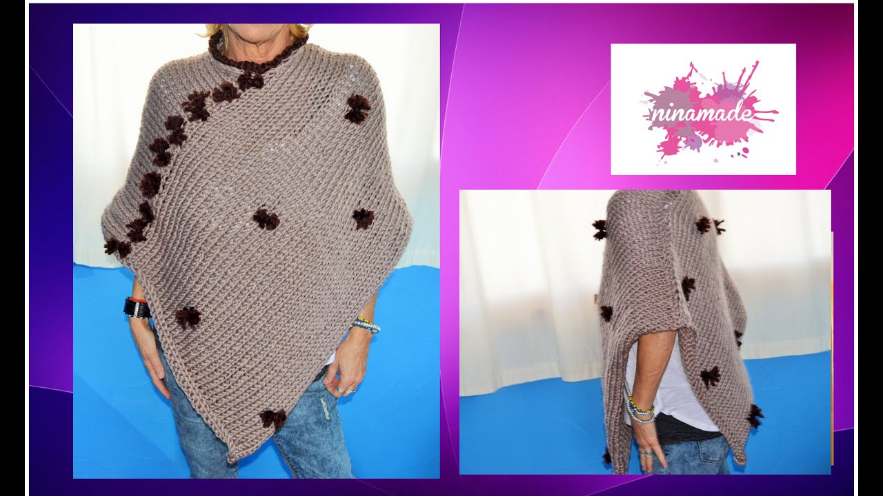 Diy comment tricoter un poncho tr s facile how to knit a poncho very easy - Comment tricoter un plaid ...
