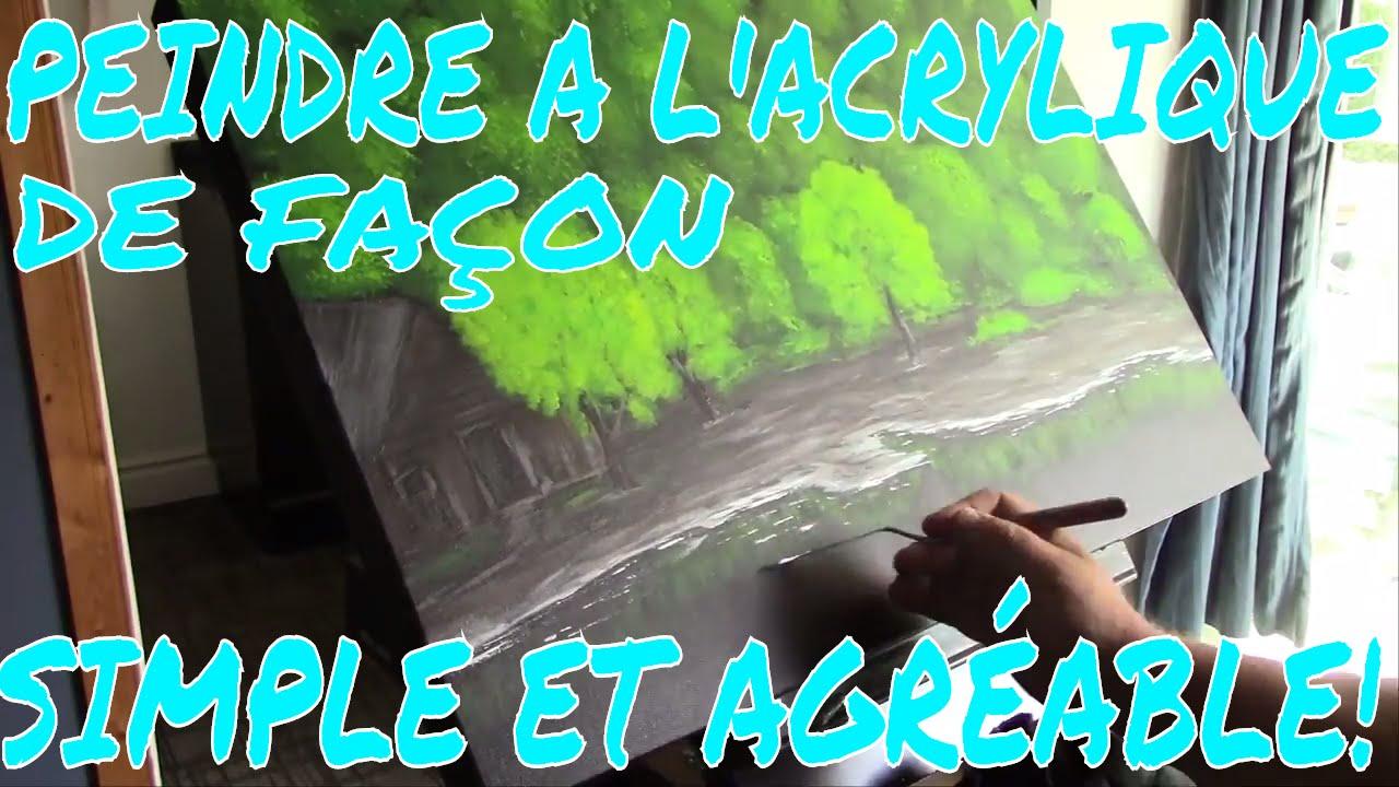 PEINDRE A Lu0027ACRYLIQUE UN PAYSAGE AVEC REFLETS SUR Lu0027EAU, SIMPLE ET AGRÉABLE!