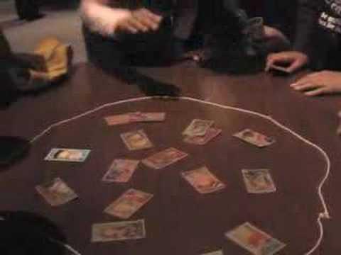 Playing Menko, Japanese traditional game.