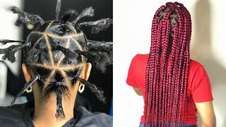 COMPLETELY TUCKED TRIANGLE BRAIDS WITH RUBBER BAND METHOD (BEGINNER FRIENDLY)
