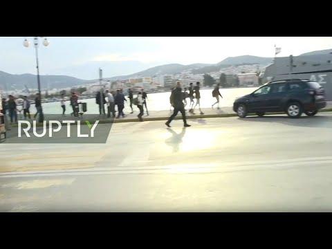 LIVE: Hundreds of migrants board boat at the port of Mytilene