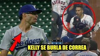 Joe Kelly da pelotazo a Bregman y se burla de Correa, Se vacían las bancas Dodgers Vs Astros