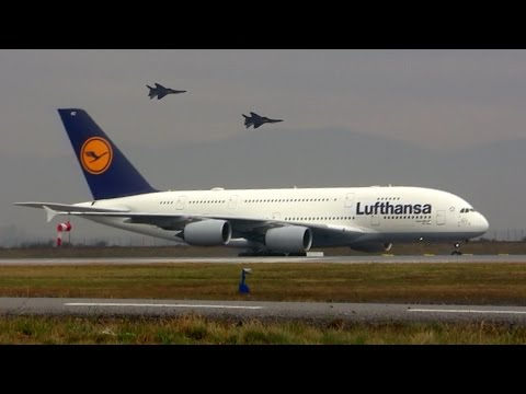 Lufthansa Airbus A380 and MIG-29 - Airport Sofia 2016 - Лети