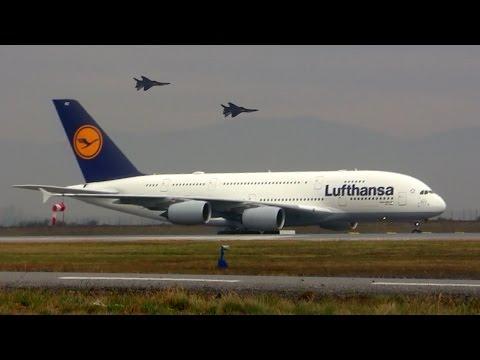 Lufthansa Airbus A380 and MIG-29 - Airport Sofia 2016 - Летище София България