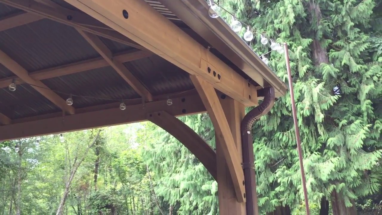 Pt  5 Costco Yardistry 12x14 Wood Gazebo RAIN GUTTERS