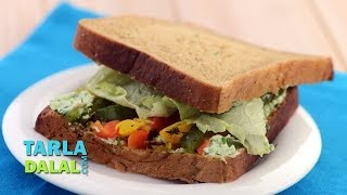 Herb Cheese And Roasted Capsicum Sandwich (healthy Breakfast) By Tarla Dalal