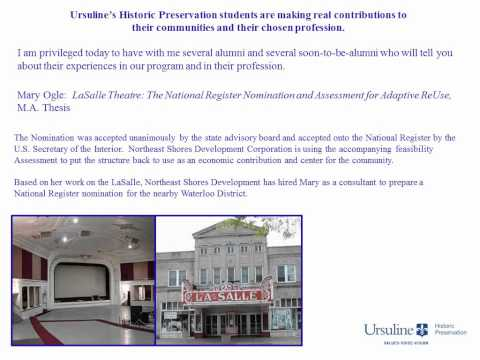Ursuline College Historic Preservation Program Webinar