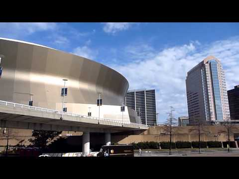 Mercedes Benz Superdome and New Orleans Arena. Clear video, great weather. SUPER BOWL 2013