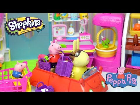 Peppa Pig Video - Peppa and George go Shopkin Shopping 2015 - Kids Toys Story