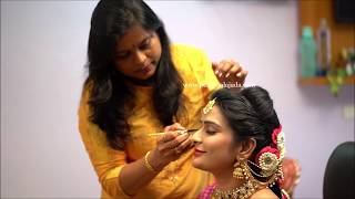 South Indian Bridal hair styling series: Braiding hair with partition.