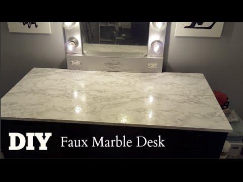 DIY Faux Marble Vanity  Computer Desk Tops Talk Through