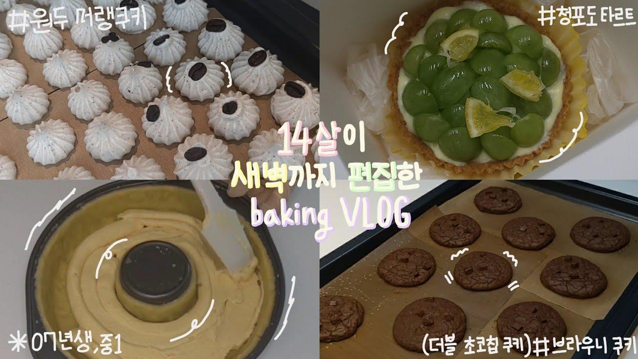 14살이 새벽까지 편집한 베이킹vlog_브라우니 쿠키,더블 초코칩 쿠키,커피 머랭쿠키,청포도 타르트,07년생 베이킹로그(오늘도 민주day)