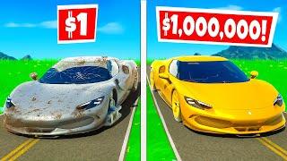 $1 FERRARI vs. $1,000,000 FERRARI?! (Fortnite Challenge)
