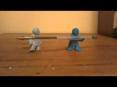 Stop frame animation- plasticine men with...