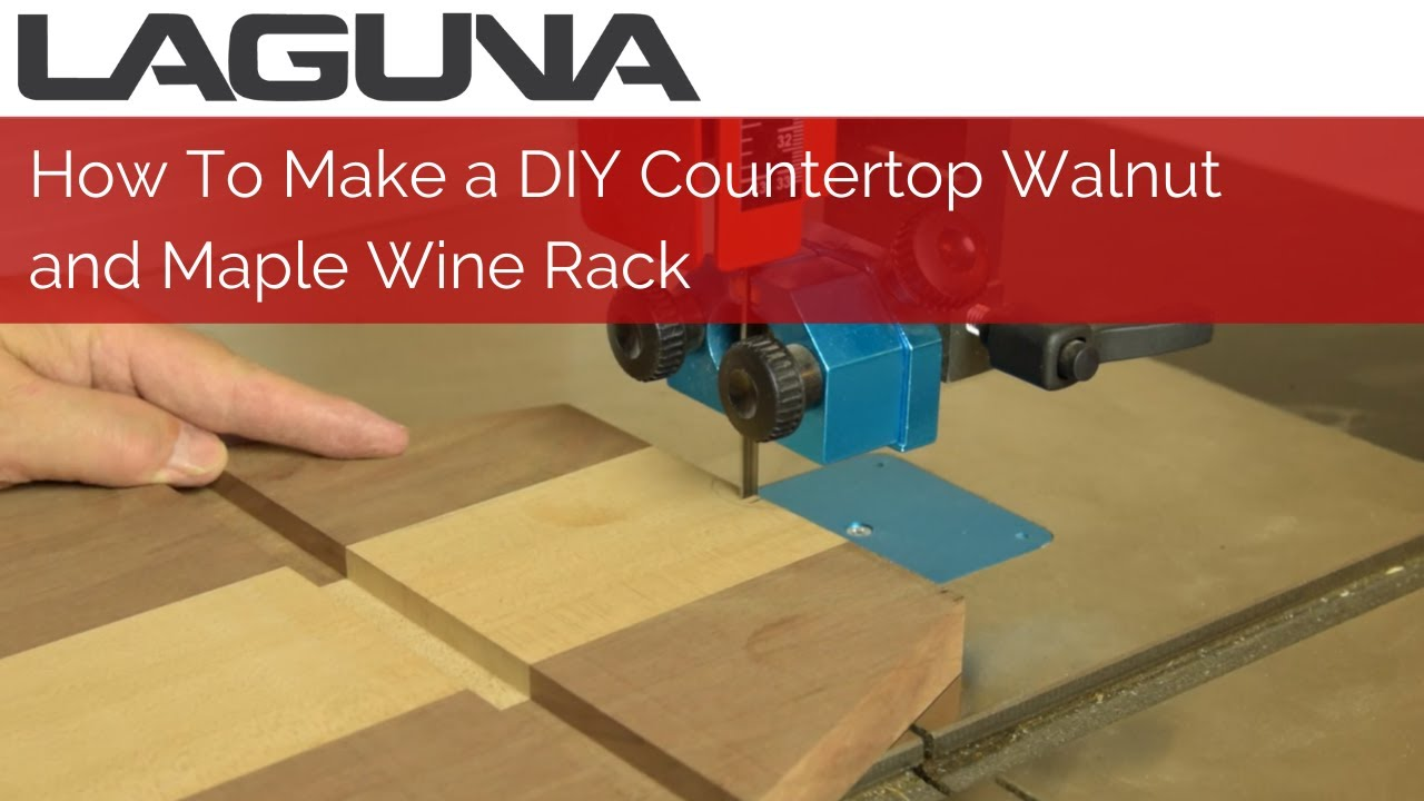 How To Make a DIY Countertop Walnut and Maple Wine Rack |  F2 Tablesaw and 14|12 Bandsaw