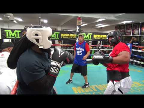 Heavyweights sparring inside the Mayweather Boxing Club