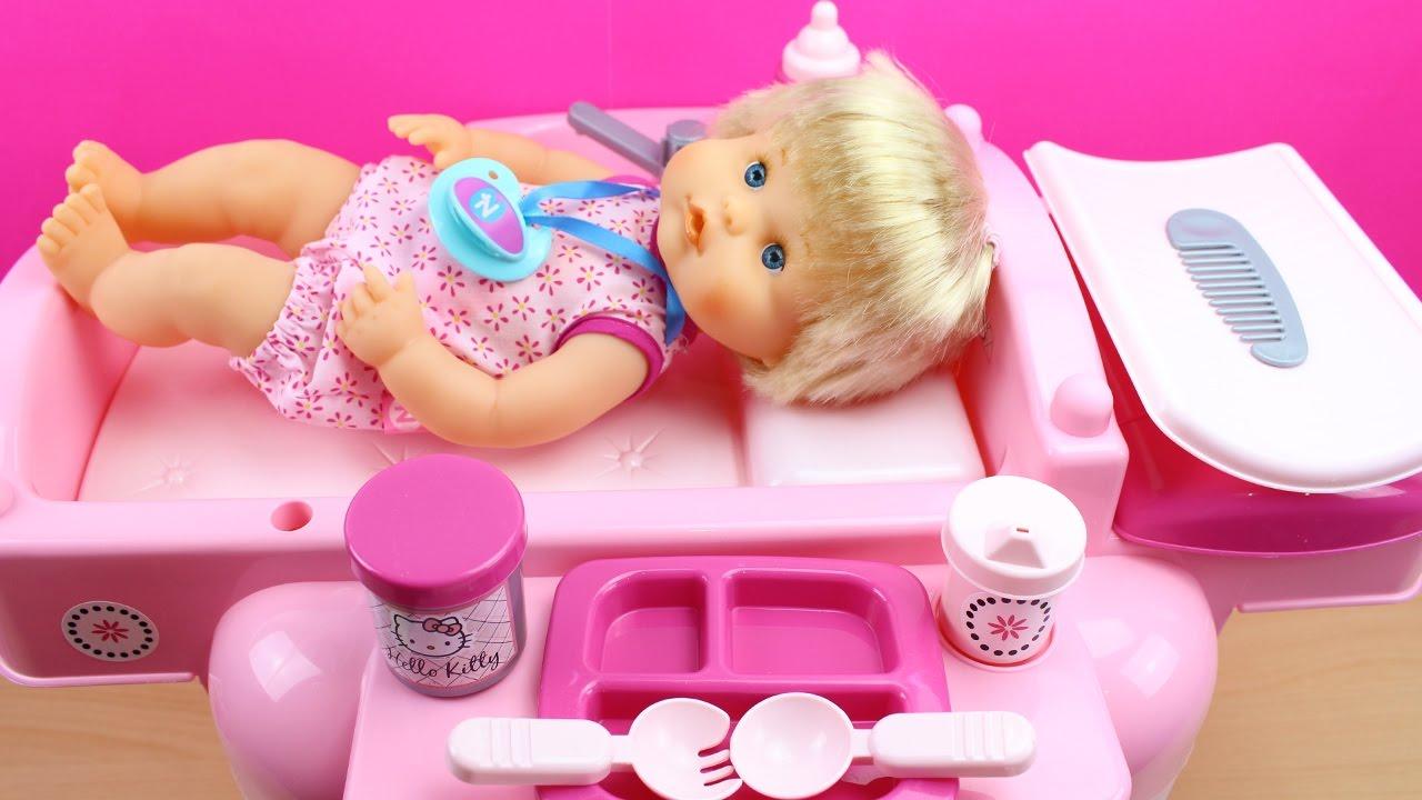Cuna cambiador para la mu eca beb trona y ba era cl nica de beb nenuco la beb come - Cambiador bebe para cuna ...