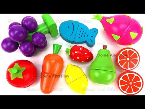 Learn Fruits & Vegetables Names with Wooden Fruit Cutting Playset Toys For Kids Preschoolers