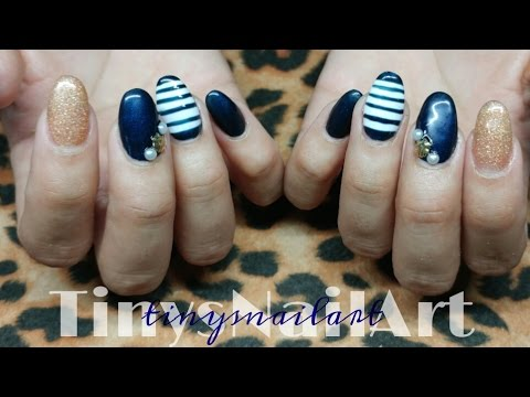 Nautical Themed Acrylic Nails With Gel Polish