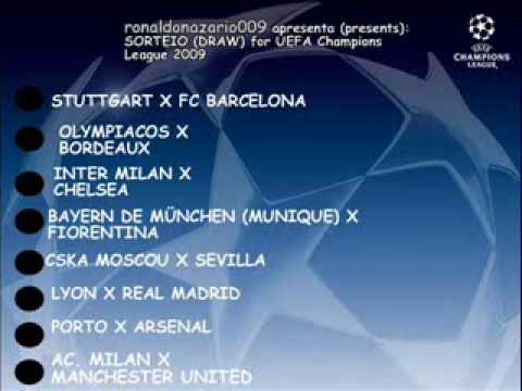 Draw for first knockout round (Sorteio para oitavas-de-final) UEFA Champions League
