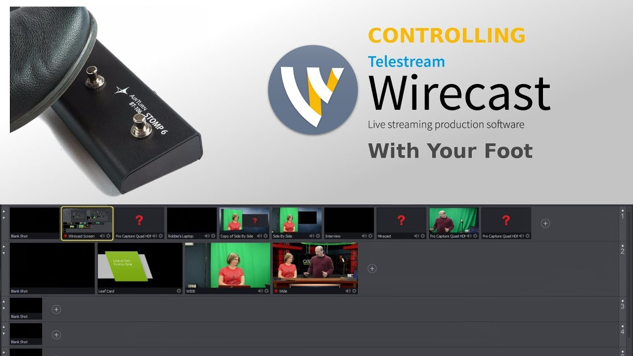 Switch Camera Shots in Telestream Wirecast with an Airturn Stomp 6 Foot  Pedal