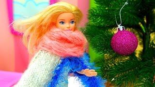 Новогодняя #Ёлка ! Видео Катя и Кукла #Барби ! Украшения и Игрушки на ёлку. Видео игры для детей
