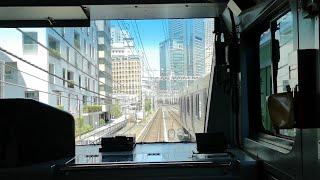 【前面展望】京浜東北線 快速列車が山手線と並走(浜松町~東京)